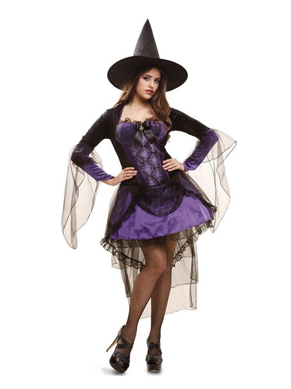 disfraz de bruja morada glamour para mujer
