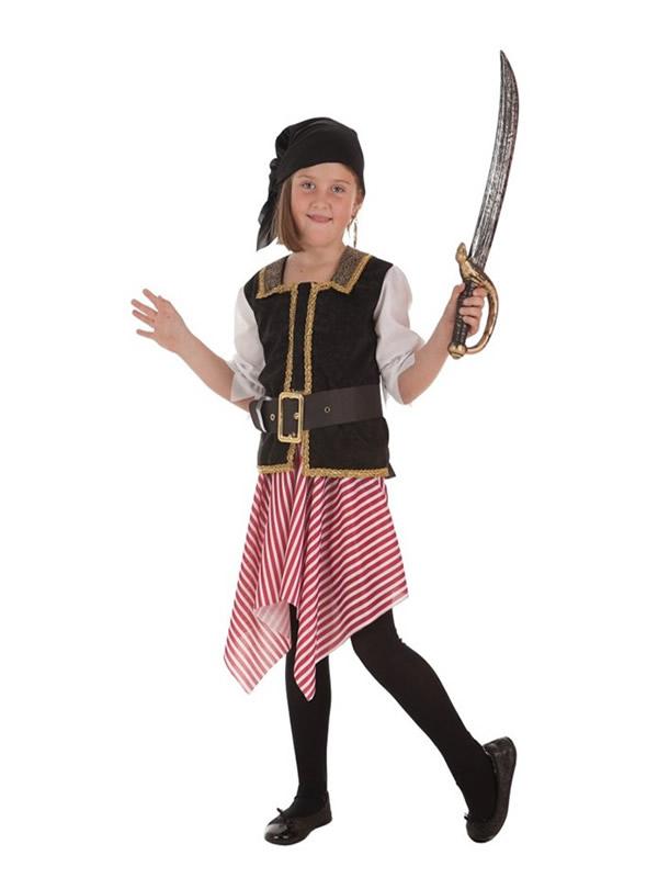 disfraz de bucanera a rayas para niña