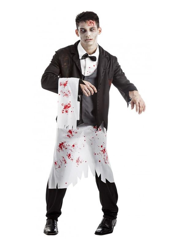 disfraz de camarero zombie hombre