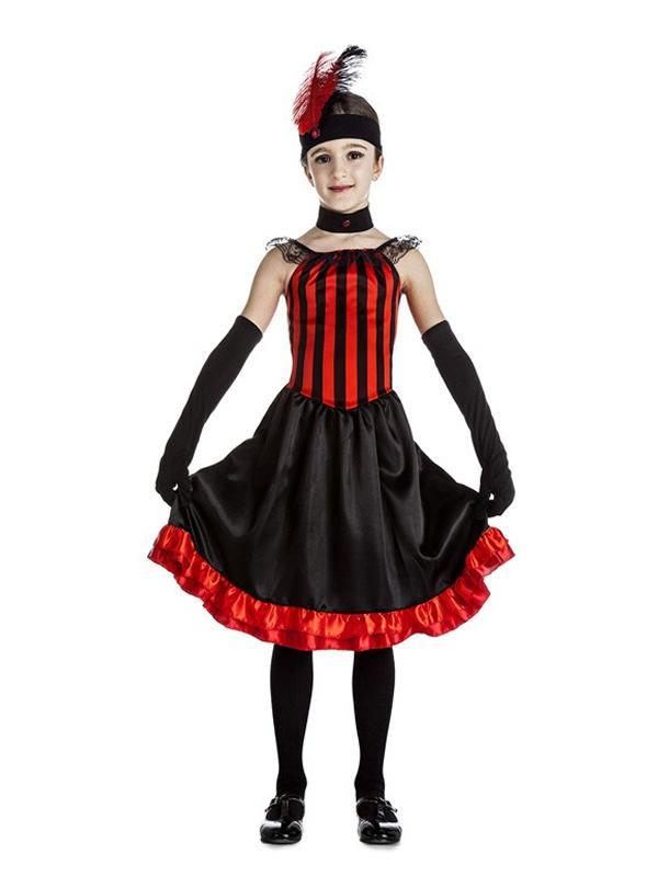 disfraz de can can rojo y negro niña