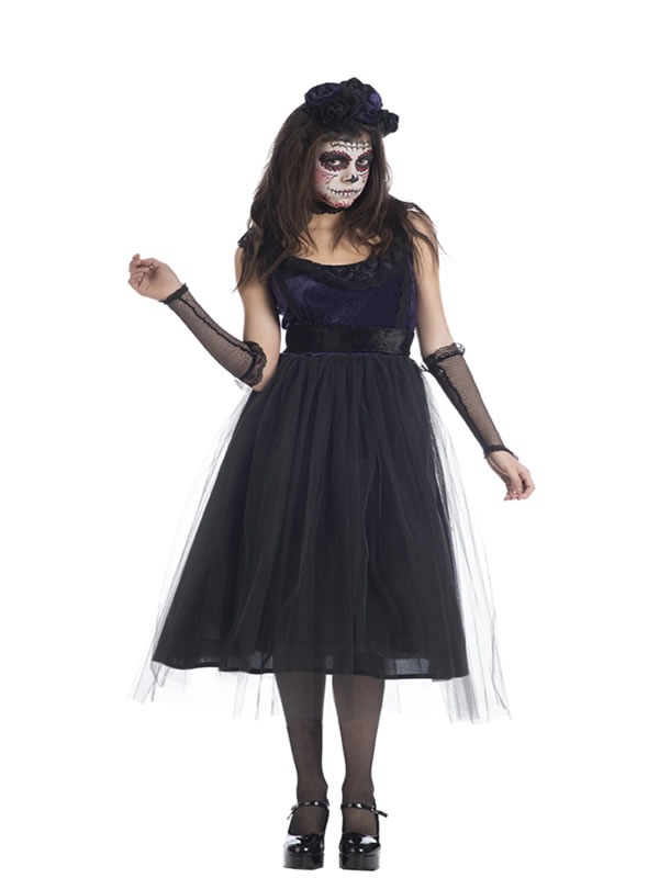 disfraz de catrina negra deluxe mujer