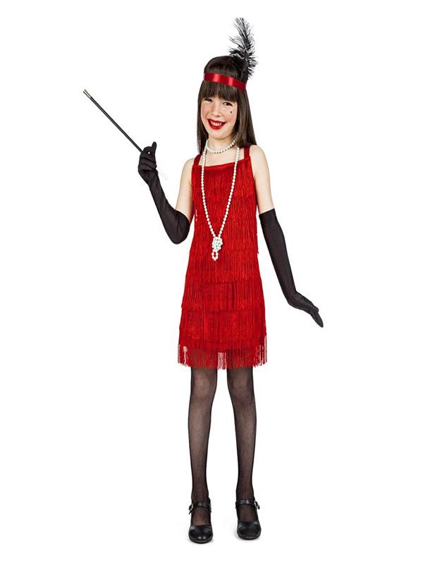 disfraz de charlestón flecos rojo niña