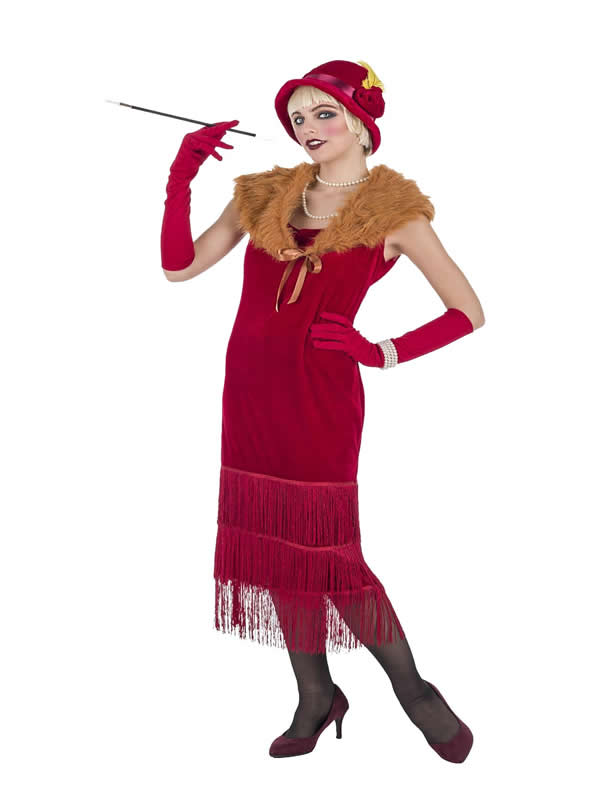 disfraz de charleston lujo rojo para mujer