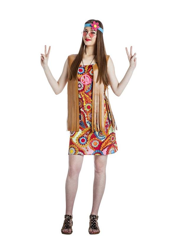 disfraz de chica hippie chaleco mujer