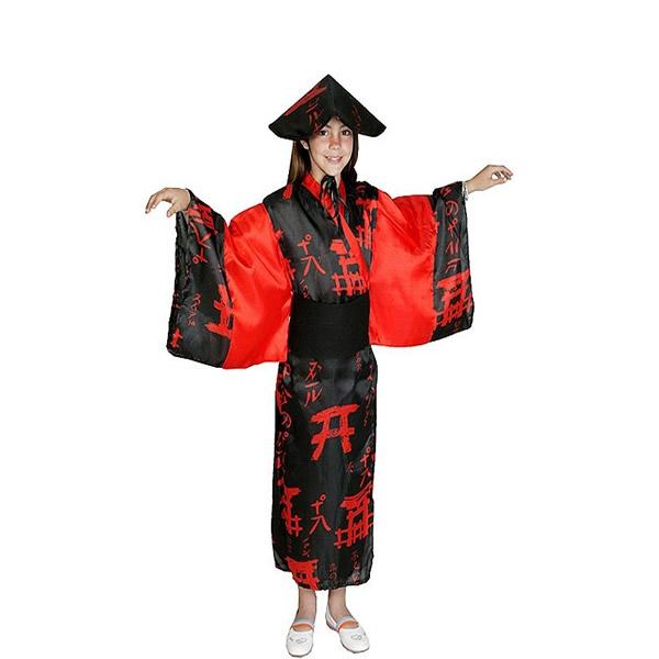 disfraz de china roja y negra niña