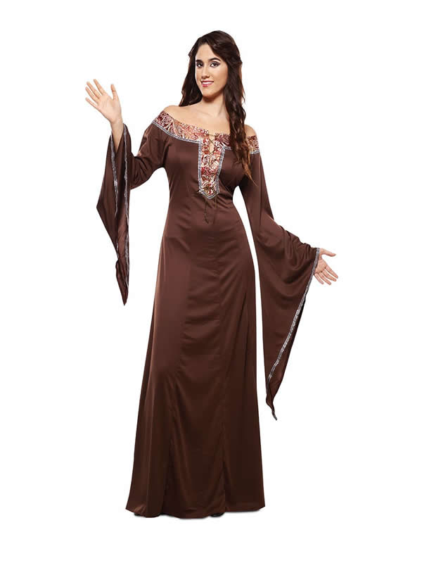 disfraz de dama medieval marron mujer