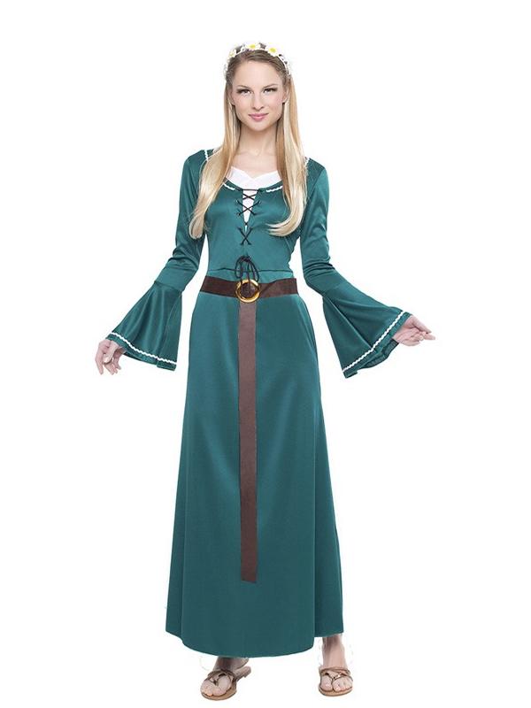disfraz de dama medieval verde mujer