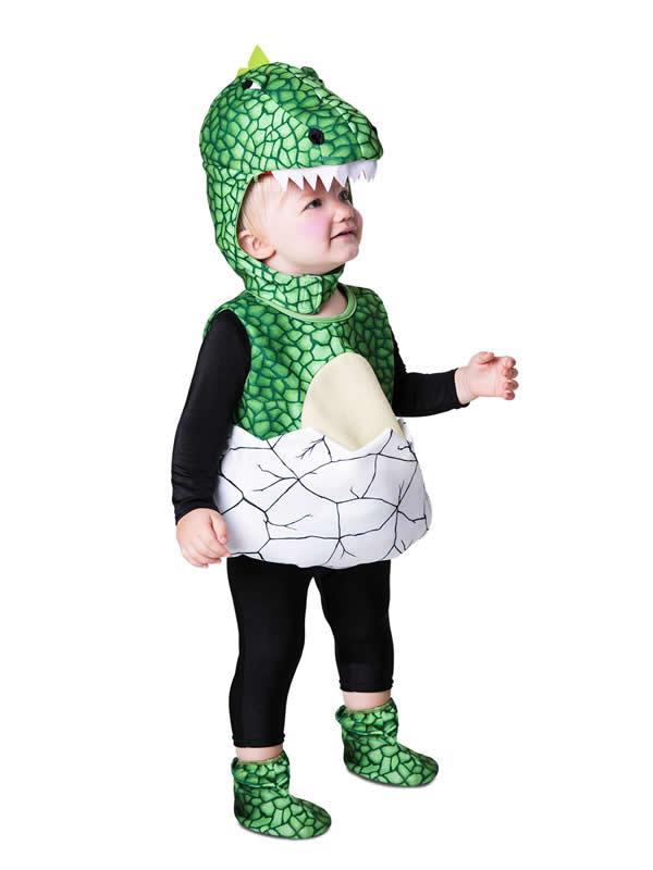 disfraz de dino en el cascaron para niño