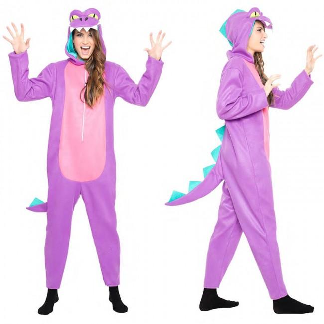 disfraz de dinosaurio lila para mujer