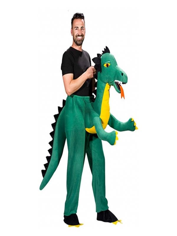 disfraz de dragón verde a hombros hombre
