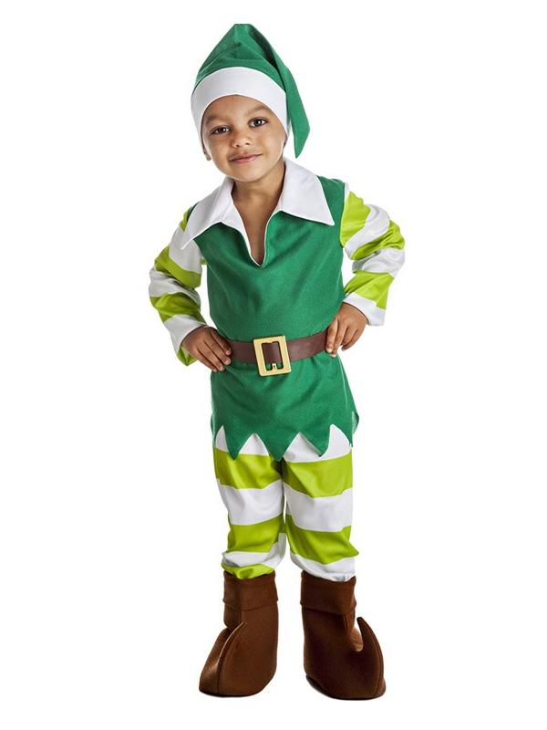 disfraz de duende verde rayas niño