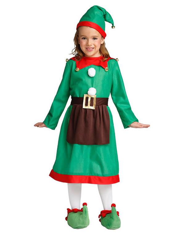 disfraz de elfa verde roja niña