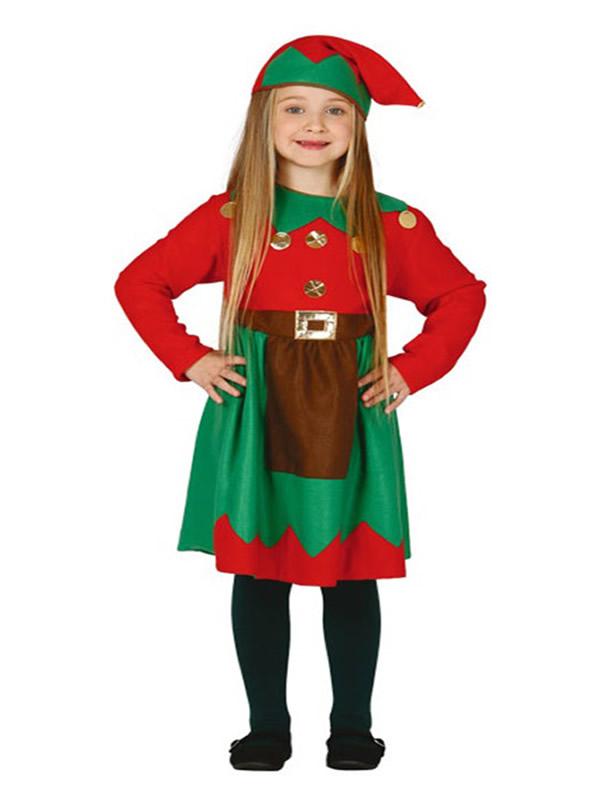 disfraz de elfa verde y rojo para niña