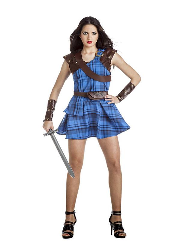 disfraz de escocesa azul mujer