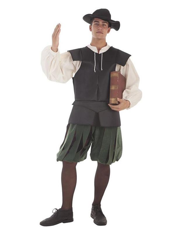 disfraz de escritor medieval para hombre