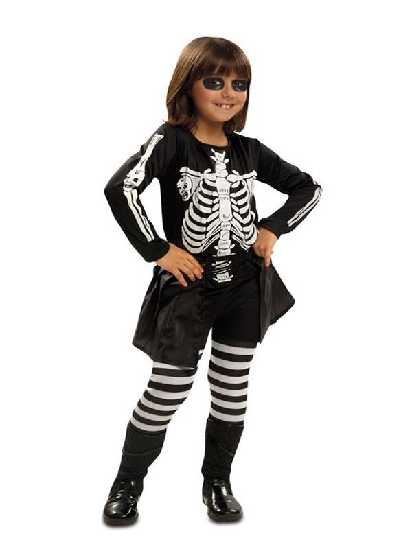disfraz de esqueleto a rayas para niña