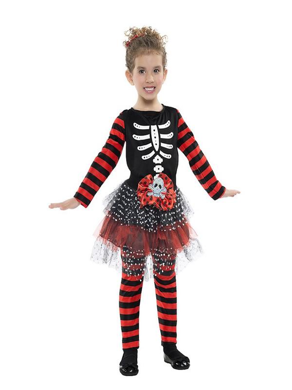 disfraz de esqueleto a rayas para nina K4986 - Los 10 mejores Disfraces Infantiles para Halloween