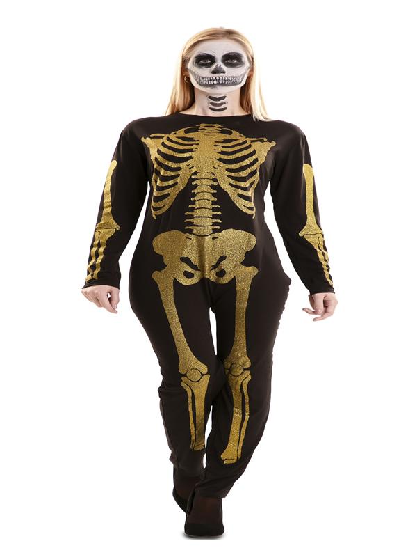 disfraz de esqueleto glitter oro mujer