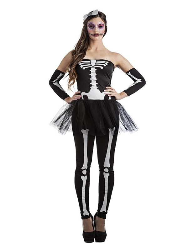 disfraz de esqueleto tutu mujer