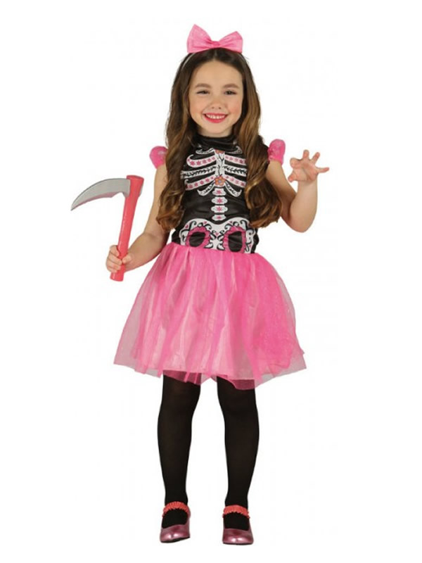 disfraz de esqueleto tutu rosa niña