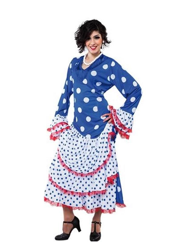 disfraz de flamenca azul para mujer