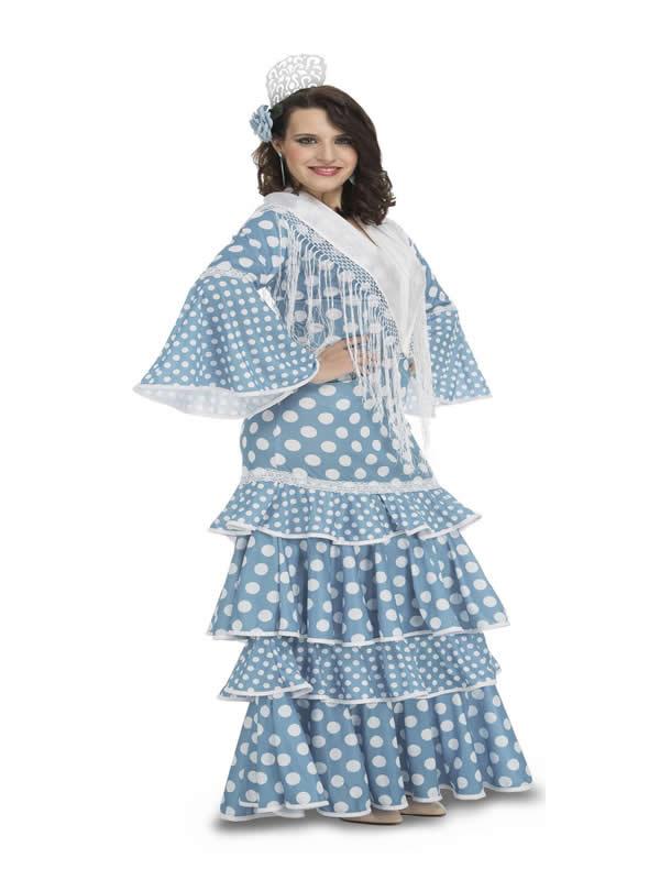disfraz de flamenca de huelva azul mujer