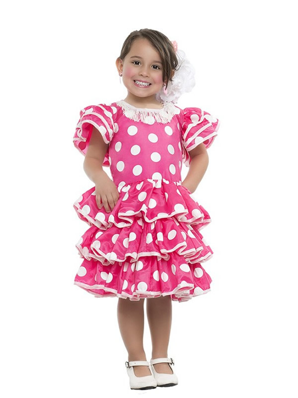 disfraz de flamenca fucsia con lunares niña