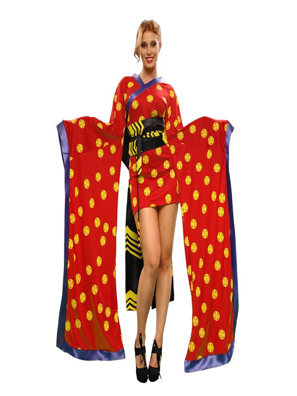disfraz de gheisa roja mujer