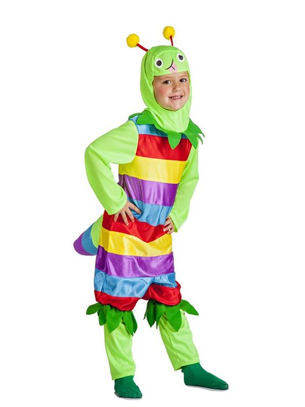 disfraz de gusano multicolor para niños