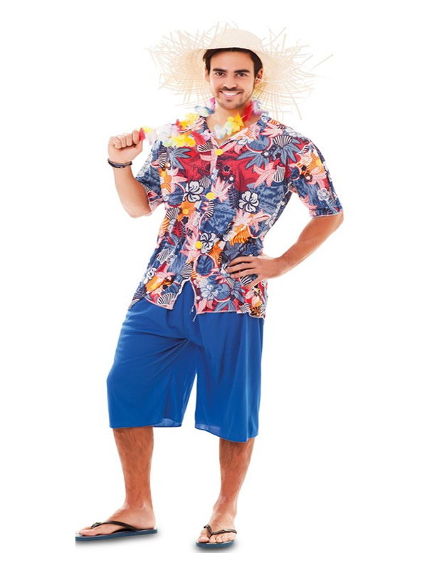 disfraz de hawaiano azul para hombre
