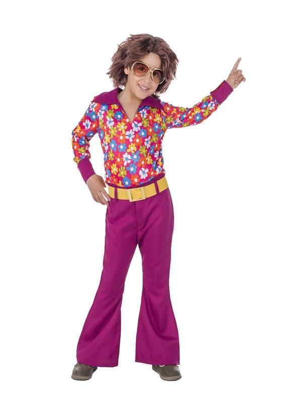 disfraz de hippie años 70 flores niño