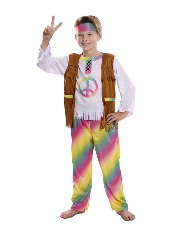 disfraz de hippie arcoiris para niño
