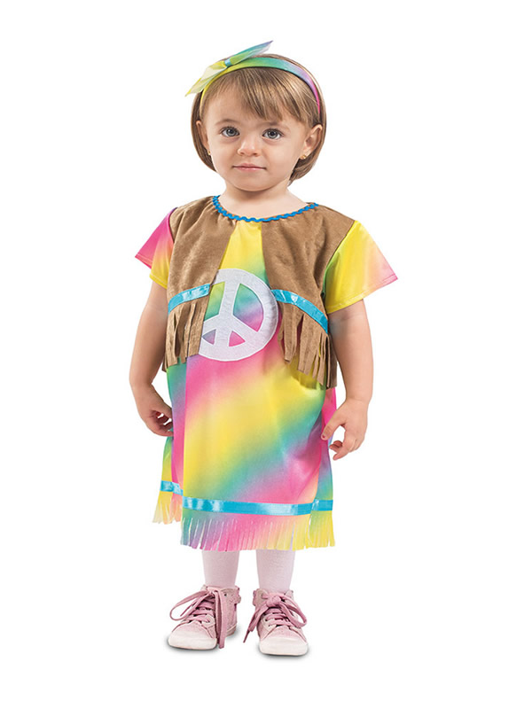 disfraz de hippie colorido para bebe