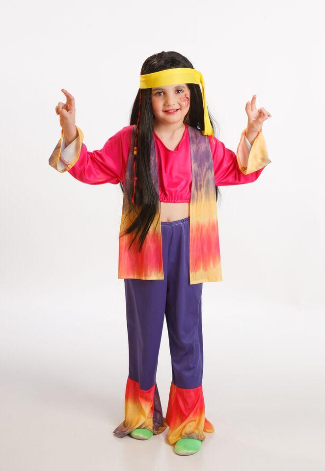 disfraz de hippie con chaleco colorido niña