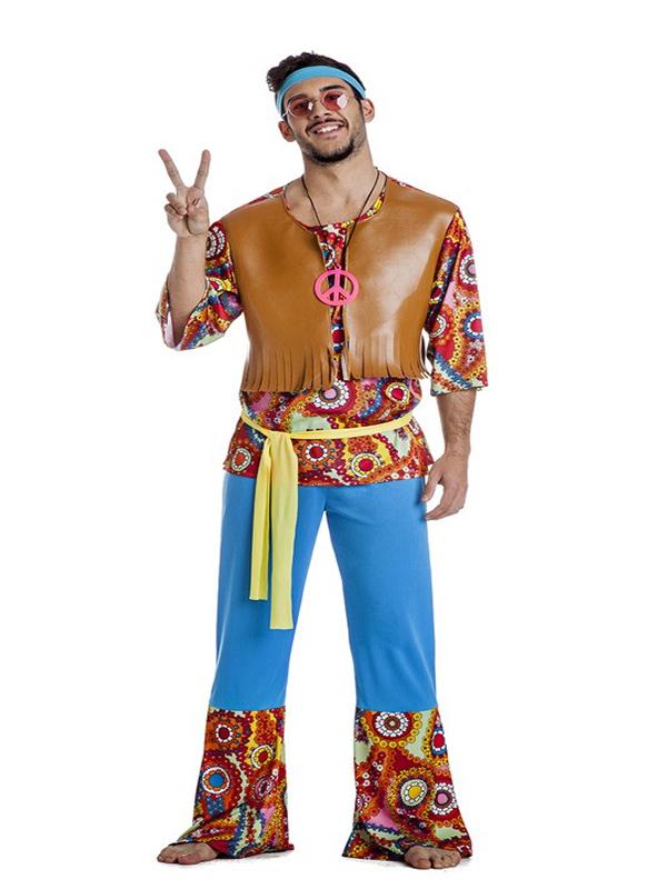 disfraz de hippie con chaleco hombre