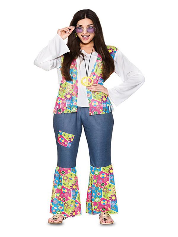 disfraz de hippie flores para mujer