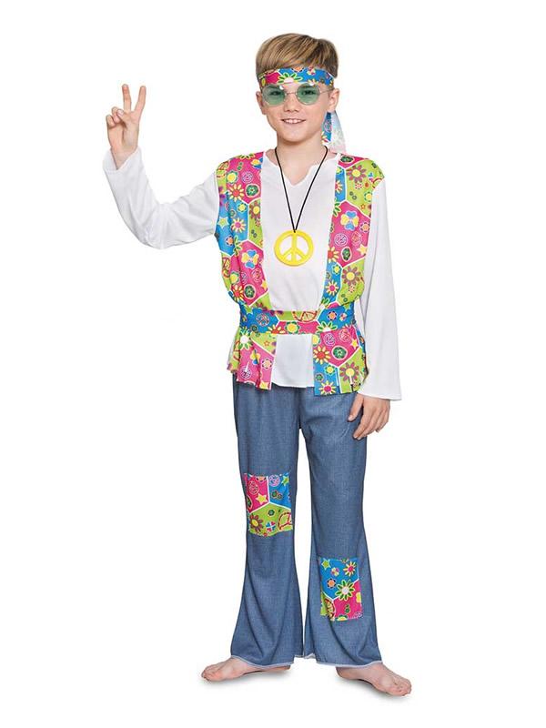 disfraz de hippie flores para niño