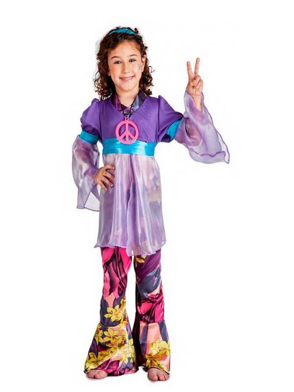 disfraz de hippie morada niña