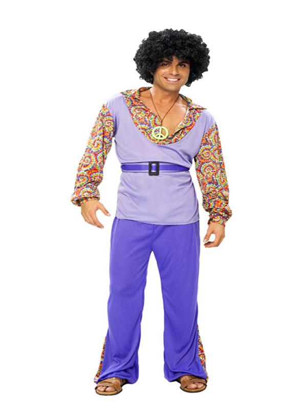disfraz de hippie morado para hombre