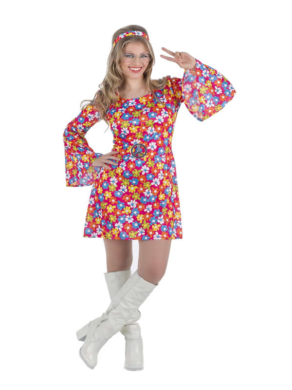 disfraz de hippie mujer años 70 flores