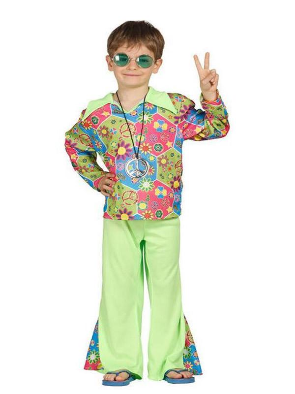 disfraz de hippie multicolor niño