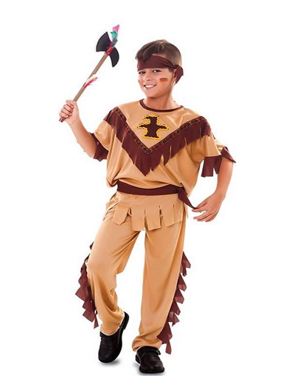 disfraz de indio con totem para niño