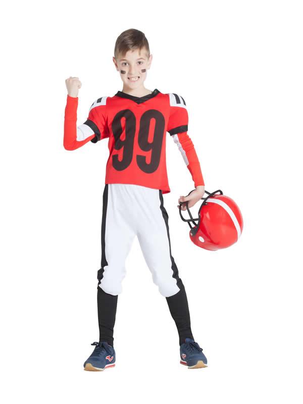 disfraz de jugador de rugby rojo niño
