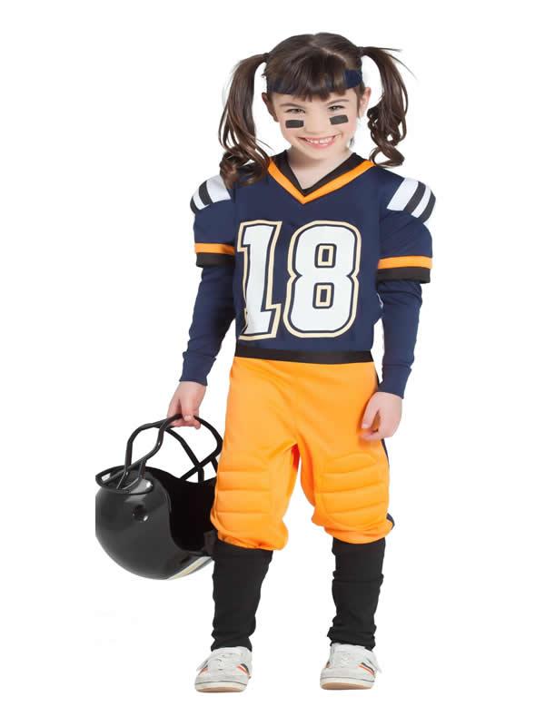 disfraz de jugadora de rugby azul niña