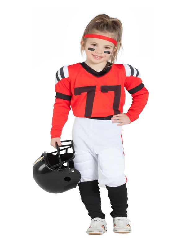 disfraz de jugadora de rugby rojo niña