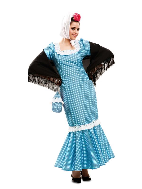 disfraz de madrilena azul mujer m2320 - Disfraces para la Feria de San Isidro y ser el mejor chulapo