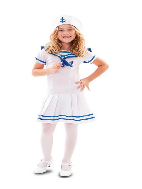 disfraz de marinera azul y blanco para niña