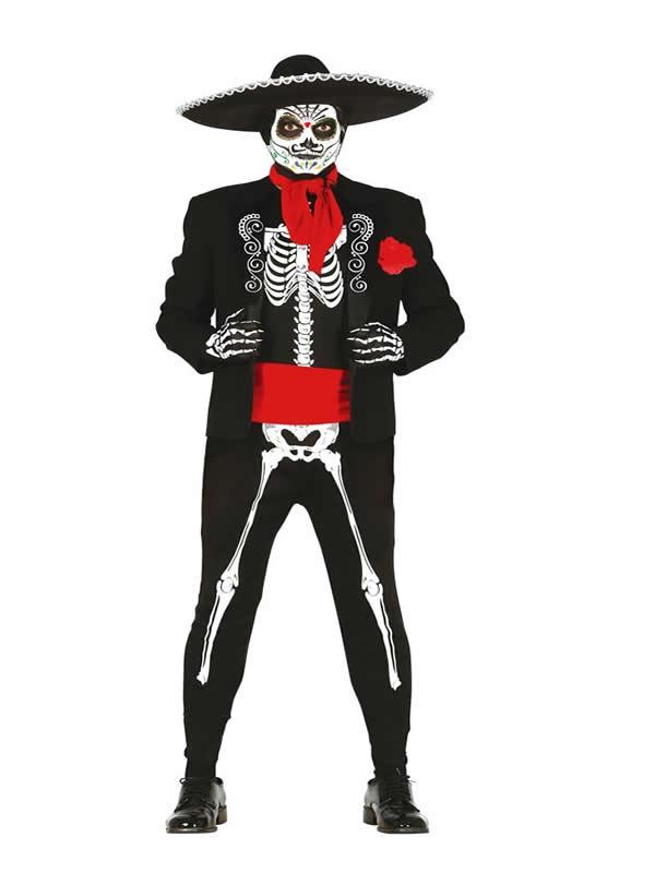disfraz de mexicano esqueleto hombre