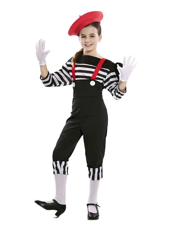 disfraz de mimo divertida niña