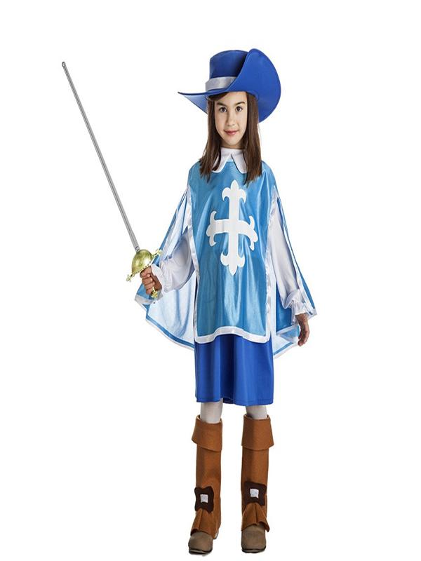 disfraz de mosquetera azul niña